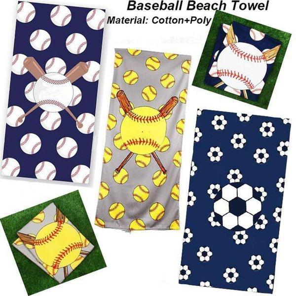 Baseball Softball Serviette de plage Rectangle Football Sport Serviette Serviettes en microfibre Couvertures Fibre Superfine Accessoires de plage MMA1654-6