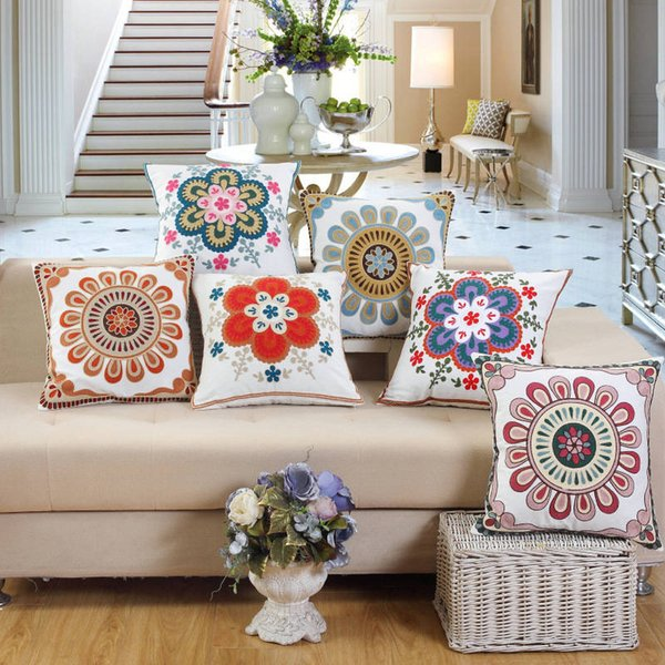 Cotton embroidered towel embroidered pillow Vintage Embroidery Pillow case Cushion Cover Ethnic National Handmade Flower Boho
