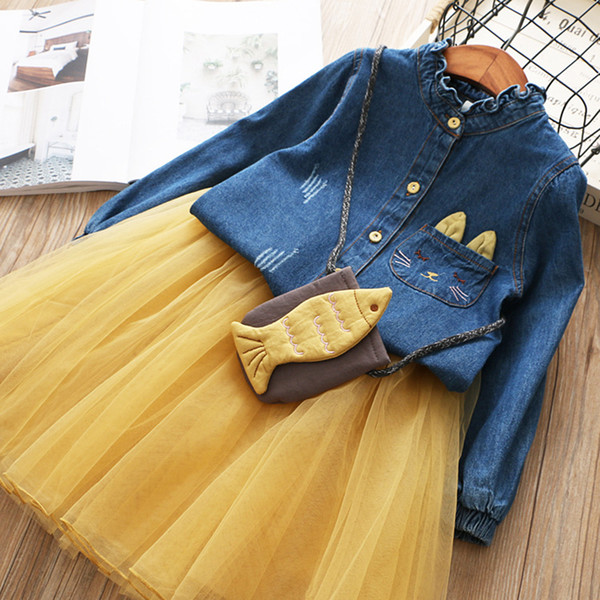 Junior Clothes Girls Party Dress 2018 New Autumn Fashion Style Cartoon Denim T-shirt +Mesh Skirt 2Pcs for Girls Suits Children Clothing