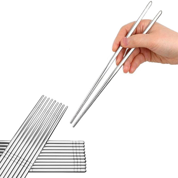 high quality Stainless Steel Chopstick Chinese Tableware Portable Reusable Chopstick Non-slip Anti-scalding for Sushi BBQ noodles Flatware
