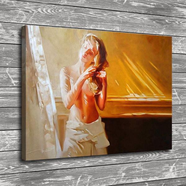 Menina Nude Penteando o Cabelo, Decoração de Casa HD Impresso Pintura de Arte Moderna na Lona (Sem Moldura / Emoldurado)