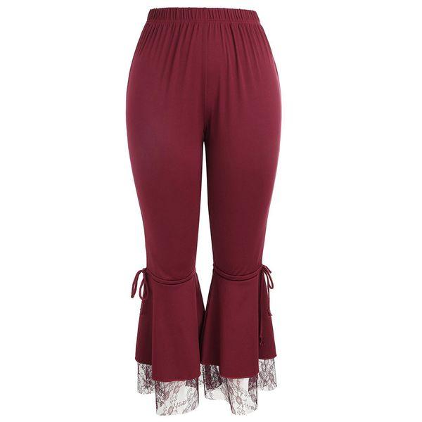 Womens Sexy Leggings Trousers Lace Pants Panel Flare Wide Pants Yoga Ladies Plus Size Yoga Leggings Red #ES