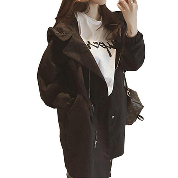 New Fashion Nice Fall Autumn Women Casual Oversized Large Pockets Long Loose Trench Coat Thin Female Windbreaker