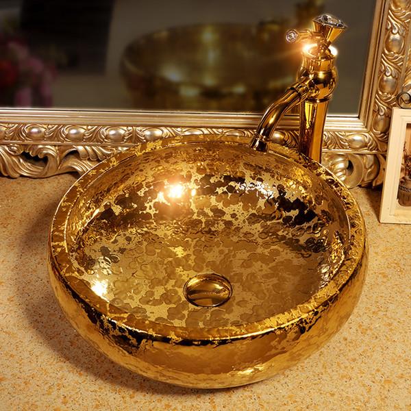 L'oro artistico bacino Procelain Europa Vintage Style Arte lavandino in ceramica vaso Contro parte superiore lavandini in ceramica del lavabo lavandino del bagno