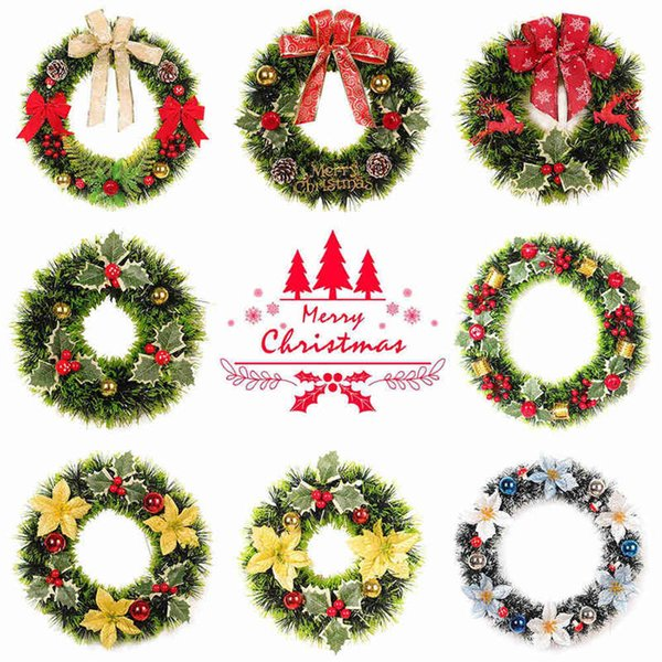 1PC Christmas Wreath Christmas Decor Window Xmas Door Decoration Hanging Ornament Pendant Wreath For Home Garland Party Decor