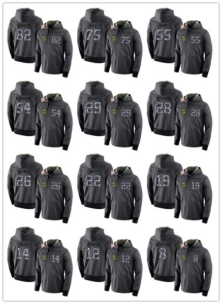 Men's Vikings #19 Adam Thielen 14 Stefon Diggs 22 Harrison Smith 8 Kirk Cousins dark gray admiral sweater outdoor sweatshirt Hoodies