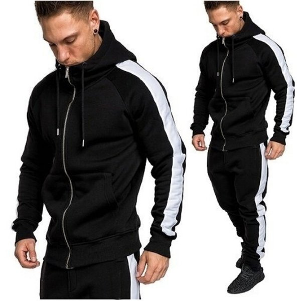 2019 Fashion Tracksuit Sport Mens Sweatshirt Autumn Winter Zipper Print Top Pants Sets Sport Suit Tracksuit Men Running Sets