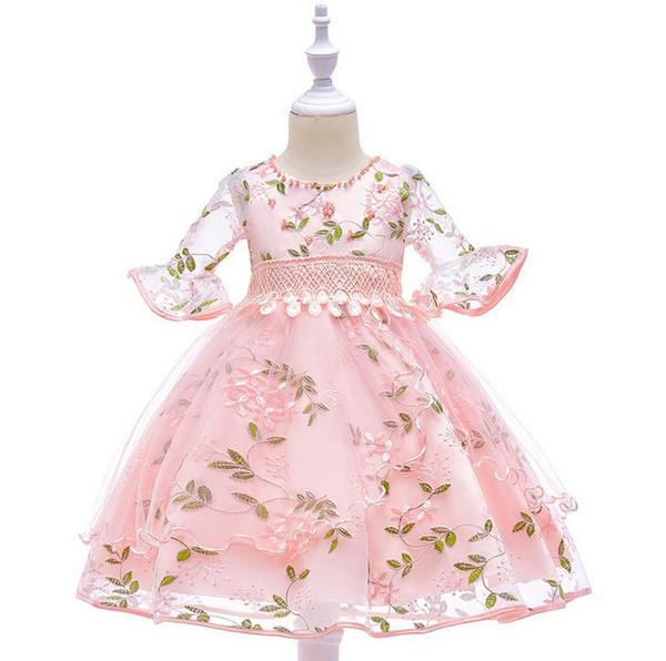 Fairyshm 2019 Kısa Kollu Boncuklu Örgü Gazlı Bez Kollu Trompet Çiçek Peri Nakış Çiçek çocuk Prenses Elbise MY0066