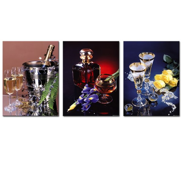 Imported Wines Glass and Flowers Modern Art Decorative Artwork Wall Painting for Home Living Room Decor Unframed 3 Pieces Canvas Wall Art