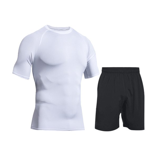 Men's 2019 Training Jogging Fitness Set Stretch Short Sleeve+Sports Shorts 2-piece Gym Outdoor Tights Sports Set Running