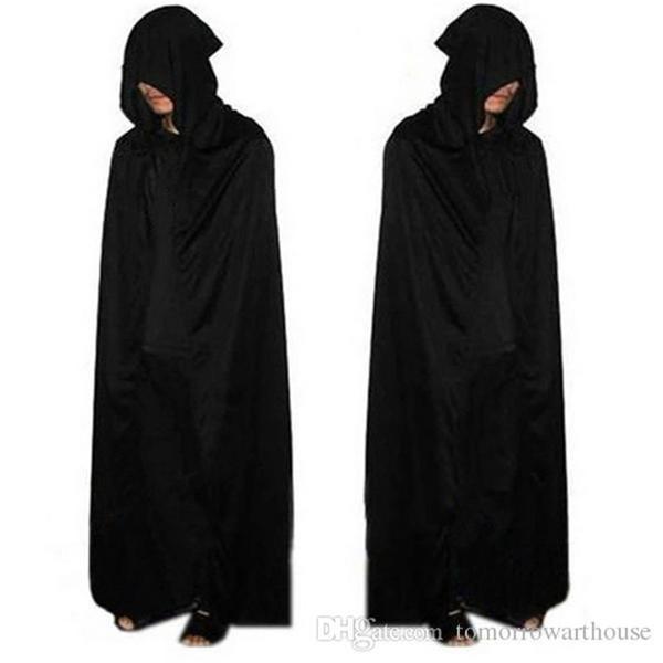 Yetişkin Cadılar Bayramı Partisi Cosplay Giyim Uzun Siyah Kapüşonlu Pelerin Ölüm Büyük Pelerin Cosplay Şeytan Pelerin R0653