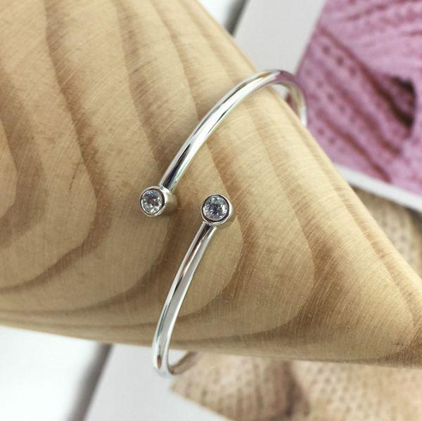 Sterling Silver Bangle Pave Shimmering End Caps For Charms Open Bangle Bracelet