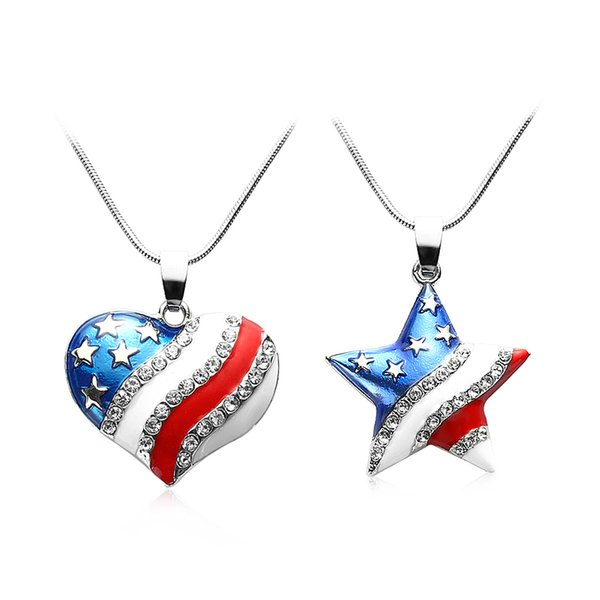 1 Stück Mode Niedlichen USA Flagge Halskette Emaille Herz Stern Anhänger Halskette Für Frauen 4. Juli Unabhängigkeitstag Kristall Schmuck