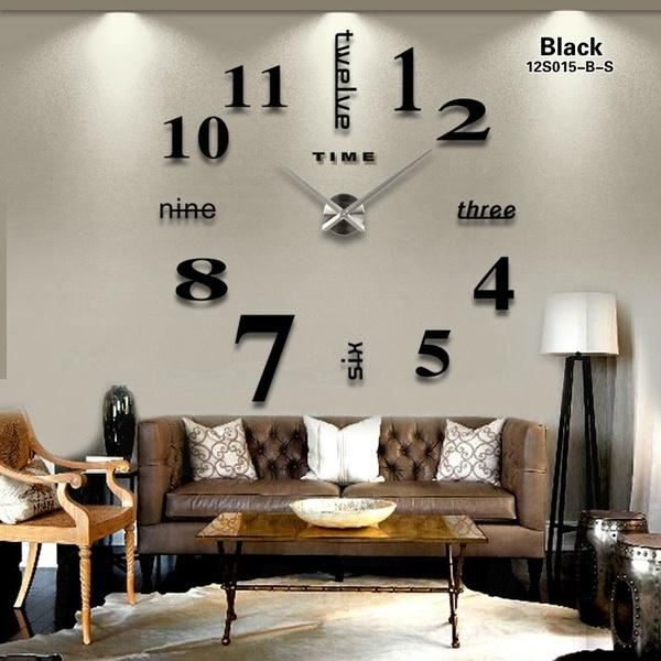 New 16 inchesNew Fashion Mirror DIY Wall Clock High-grade Decor Wall Clock Contemporary Oversize Original Clocks