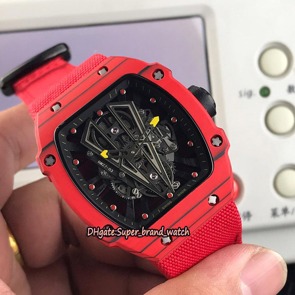 New Best Edition RM 27-03 Rafael Nadal NTPT Red Carbon Fiber Case Skeleton Dial Miyota Automatic 27-03 Mens Watch Red Nylon Leather Watches