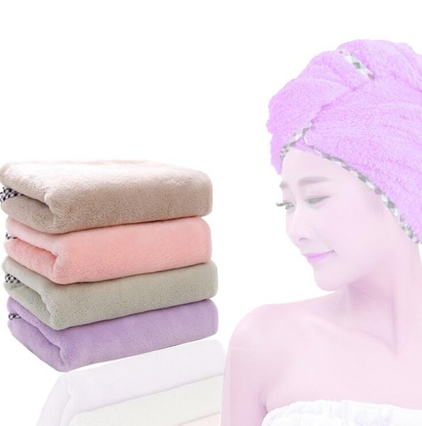 Pelo seco Toalla de baño Microfibra de secado rápido Turbante Súper absorbente Capa del pelo del pelo Wrap con botón OOA6051