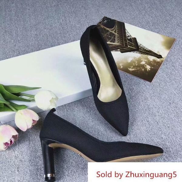 Nuevas mujeres Zapatos de tacón alto Fabricación de cuero Caja original Tacón 8 Cm Cubierta de tela Sho