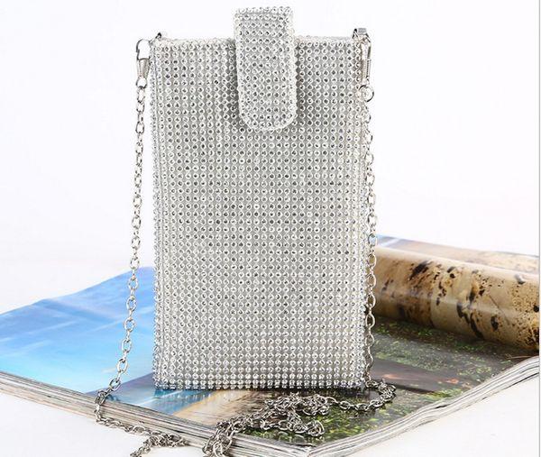 Diamond phone case Women's chain crossbody bag Rhinestone evening bag