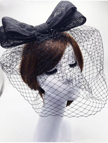 Ivory Birdcage Veil With Bow Blusher Veil Hair Accessories For Women Bride Headpiece Vintage Bridal Veil Velo Red Muslim Black Bridal Cheap