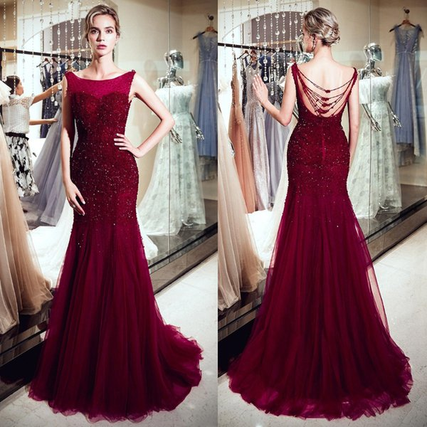 Elegant Burgundy Mermaid Dresses Evening Wear Sequins Crystal Beaded Applique Luxurious Prom Dress Long Sleeveless Tulle Skirt Party Gowns