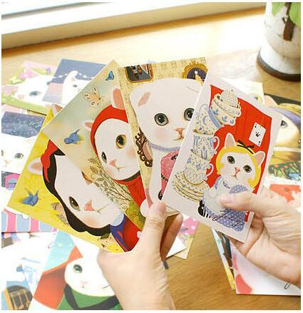 1pcs/lot Lovely Cartoon Cat Greeting Card Fashion New Tools Background Cards Picture