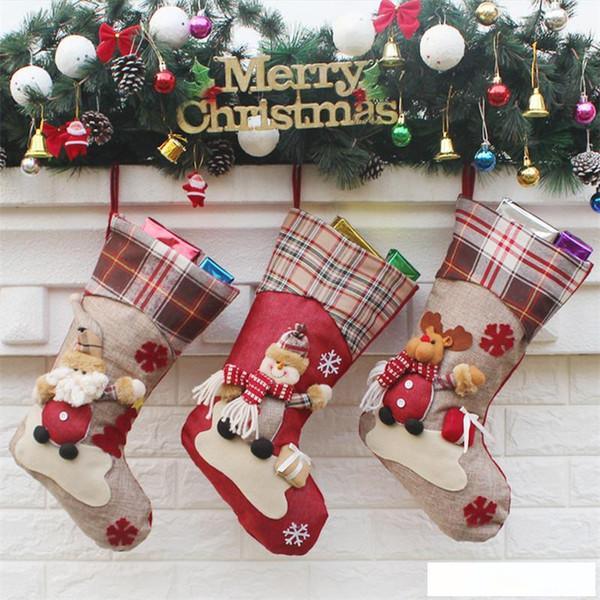 Оптовая Новый персонализированный дизайн Новогодние украшения снеговика носки Новый год подарки Новогоднее украшение Носок Дети мешок подарка