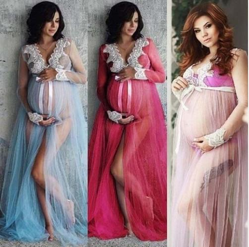 Hot Pregnant Women Front Split Lace Maxi Long Sleeve Dress Maternity Gown Photography Props Photo Shoot Costume Clothing