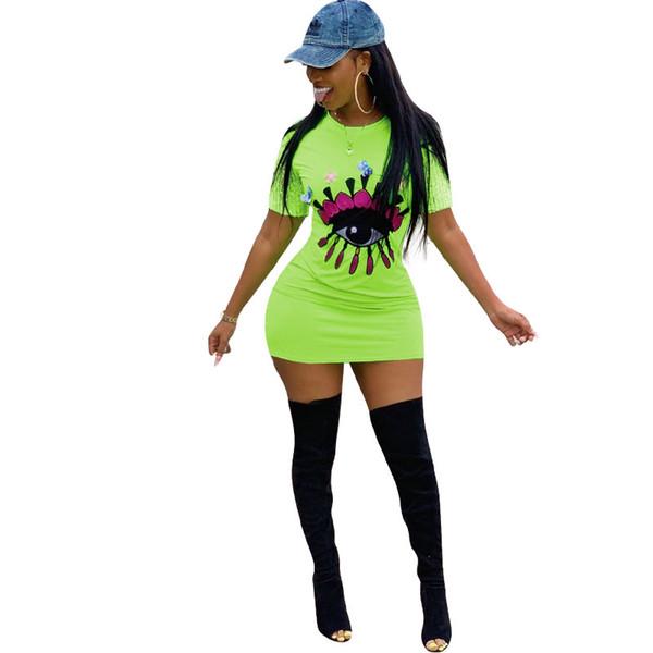 Women Embroidery Big Eye Summer Dress Sequins Short SLeeve Dresses Refective Green Tight Skirt Night Club Summer Sports Dress New C416