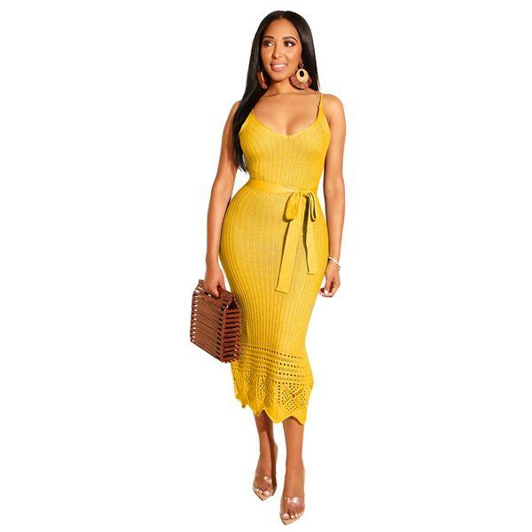 nuove donne vestono estate spaghetti strap con scollo av a vita alta telai maglia midi bodycon abito a metà polpaccio 9 colori vestidos