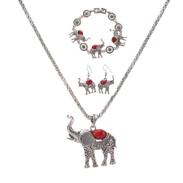 Böhmischer Elefant Anhänger Halskette Armband Ohrringe Set europäischen und amerikanischen übertrieben Schmuck dreiteiligen Set Großhandel