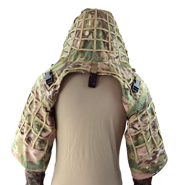 Fond de combinaison Ghillie ROCOTACTICAL en tissu ripstop manteau de sniper tactique camouflage capuche vipères CP Multicam / Woodland