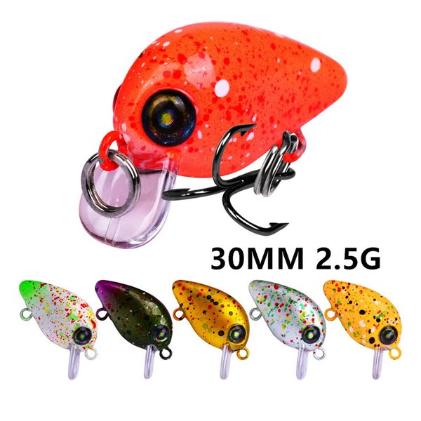 best selling 1pc 6 Color Mixed 30 mm 2.5 g Crank Plastic Hard Baits & Lures 12# Hook Fishing Hooks Pesca Fishing Tackle Accessories WE_70