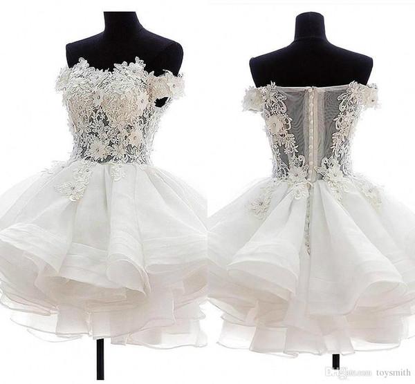 Ücretsiz Nakliye Yeni Varış Beyaz Tül 3D Çiçek Sequins Konuk Elbise Balo Elbise 2018 Zarif Kısa / Mini Straplez Boncuklu Homecoming Elbise