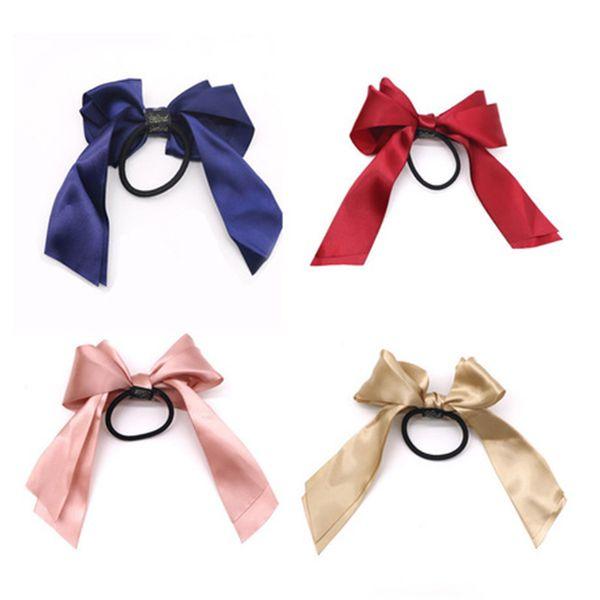 Women Rubber Bands Tiara Satin Ribbon Hair Bow Elastic Hair Band Rope Scrunchies Ponytail Holder Gum for Girls Hair Accessories DHL FJ467