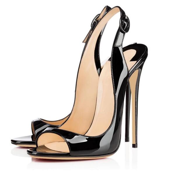Freies schiff 2019 Europäische Mode Sexy Frauensandalen offene zehen Hochhackiges bankett Schuhe Schnalle sommer fersen schwarz 12 cm große größe