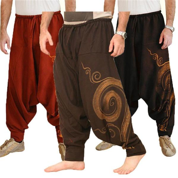 Hombres de la vendimia Pantalones Harem elástico Casual holgada del Yoga Pantalones Harem Hombres de Hip Hop gitana algodón de lino de ancho patas pantalones flojos con cordón