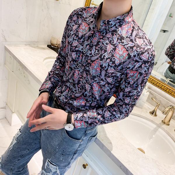 camisas hombre Herbst Winter neue Männer Langarm-Shirt Art und Weise digitale Druckmänner soziale Hemden der dünnen Männer fit Bluse Kleid 3xl-m