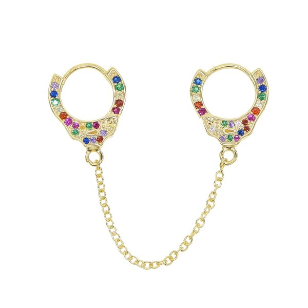 1pcs summer colorful fashion Jewelry Authentic 925 Sterling Silver handcuff long chain dangle earring for women rainbow gifts