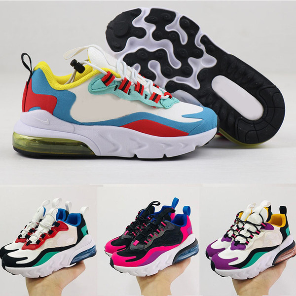 top popular 2019 react Kids designer shoes Children 27s Basketball Shoes Wolf Grey Toddler Sport Sneakers for Boy Girl Toddler Chaussures Pour Enfant 2020