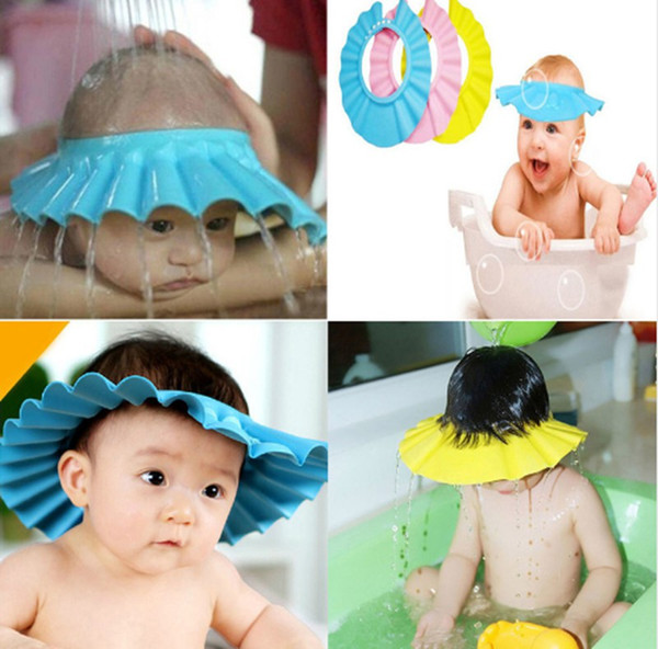 top popular Baby girl shower caps infant girl boys adjustable waterproof ear protection kids girl blue shower hats 2021