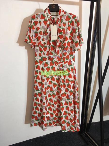 high end women girls silk shirt dress strawberry print bow short sleeves casual a-line trumpet midi skirts fashion design luxury dresses