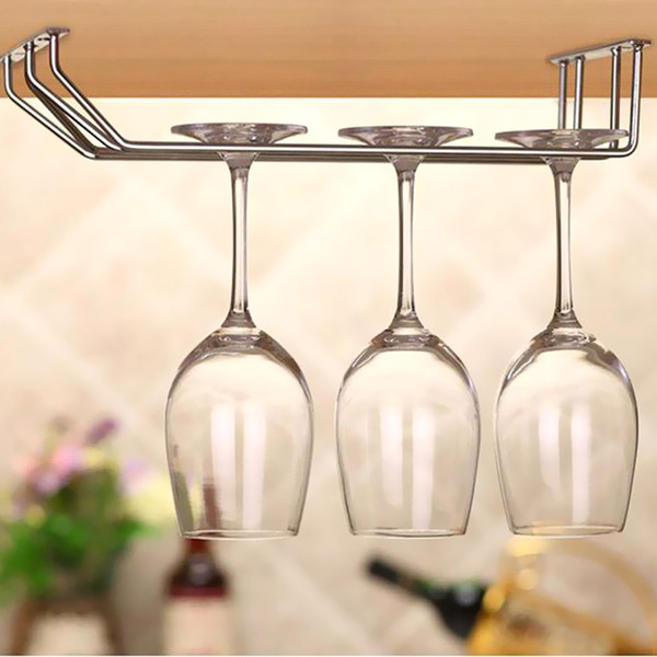 New 35cm Stainless Steel Wine Rack Wine Glass Holder Stemware Hanging Bar Hanger Shelf Under Cabinet Home Bar