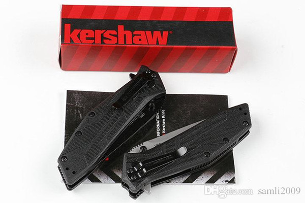 """Kershaw Brawler Assisted Opening Knife (3.25"""" Black) 1990 flipper 8Cr13MOV Blade Tanto edge GFN Handle Folding knives free shipping"""