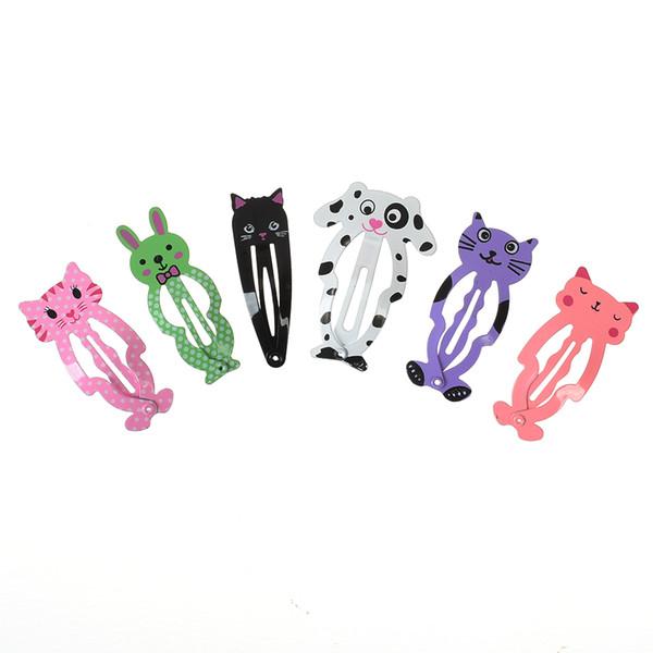 6 piezas horquilla animal metal hornear pintura chica bb clip color imprimir panda simples accesorios para el cabello tiara mujeres niños pinza de pelo