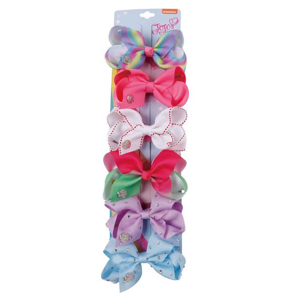 6 Pieces/Lot 4 inch jojo siwa Hair Bows for Girls Kids Grosgrain Ribbon Rhinestone Hair Clips Handmade Unicorn Party Hair Accessories