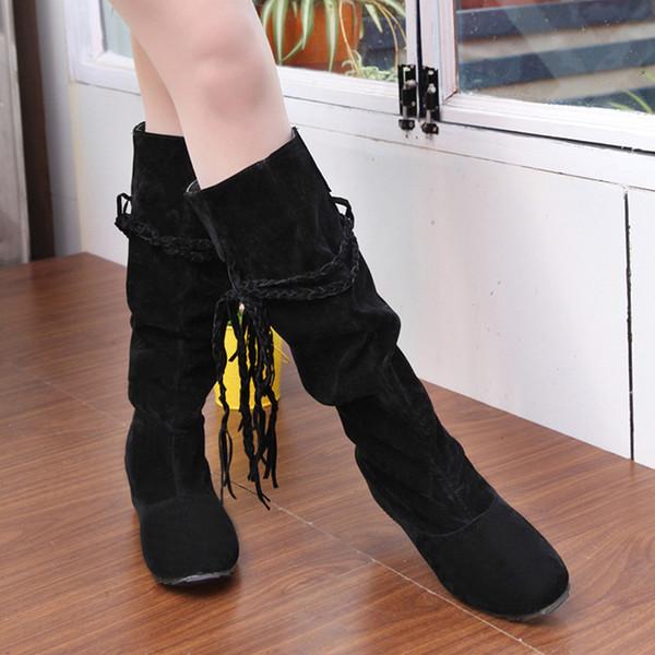 Otoño Invierno nueva de las mujeres Botas Fringe La mitad de la rodilla El tacón alto cargadores de las señoras de la borla de la manera del tamaño Mujer Bota Femenina Plus 35-43