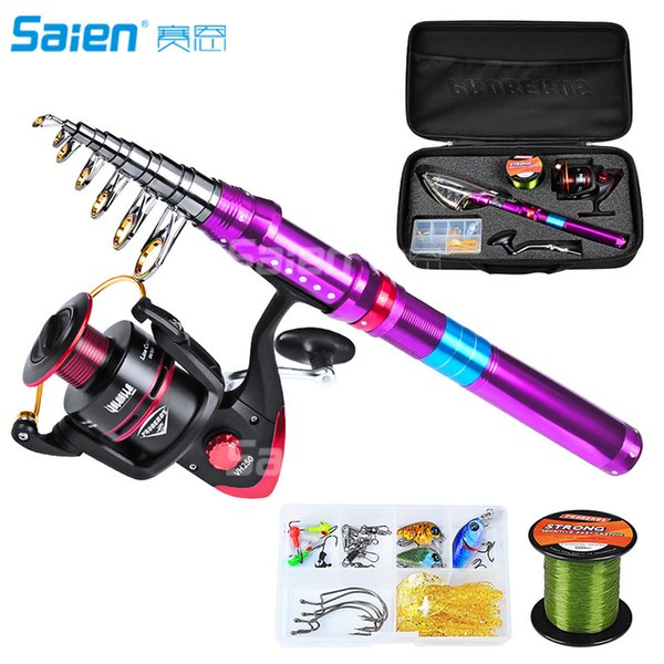 best selling Telescopic Fishing Rod and Reel Combos with Full Kits   Carrier Bag Carbon Fiber Pole for Travel Saltwater Freshwater Fishings