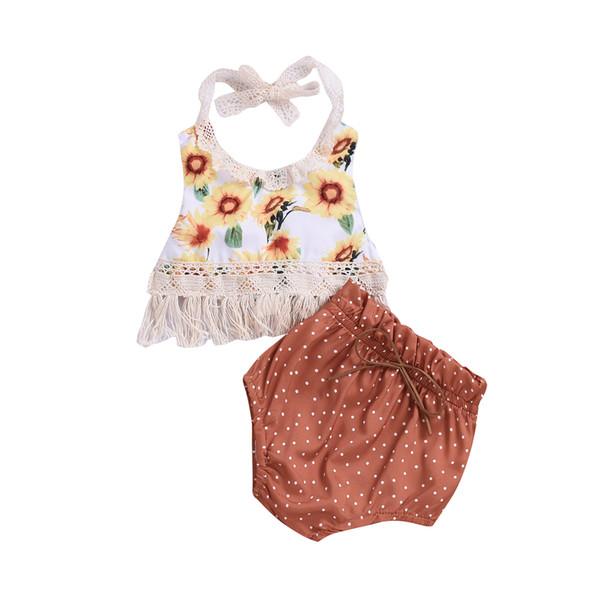 Nouveau-né Bébé Filles Fleur Glands Tops Dot Shorts 2pcs Ensemble Jaune Tenues Été Bébé Enfant Filles Vêtements Toddler