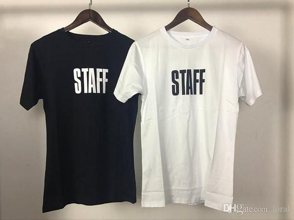 Justin STAFF Letters Tshirts Male Sommer-Schwarz-Weiß Einfache beiläufige T Frauen-Liebhaber-Spitzen Kurzärmlig Kleidung