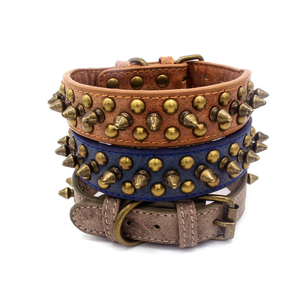 Dog Accessories Adjustable Rivets Collars Cat Dog Anti-bite basic Collar leather durable and comfortable collier pour chien@22